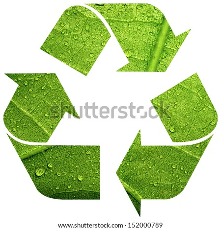 Recycle symbol with leaf texture isolated on white background - stock photo