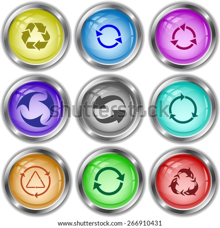Recycle symbols set. Raster internet buttons. - stock photo
