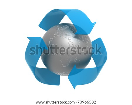 Recycle to Save Planet Sign - Africa and Europe Region - Metallic Sphere. Isolated on White Background - stock photo