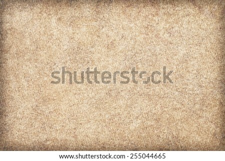 Recycle Watercolor Paper, Beige, extra coarse grain, bleached, blotted, mottled, vignette grunge texture sample. - stock photo