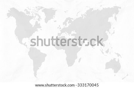 Recycle white color Paper texture background with world map in black tone  - stock photo