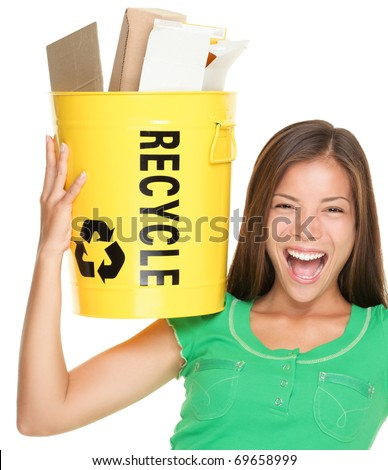 Recycle woman holding recycling basket with paper. Funny recycling concept cut out isolation over white background. Asian / Caucasian female model. - stock photo