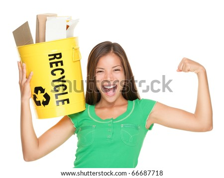 Recycle woman holding recycling bin with paper showing muscles. Funny recycle concept isolated on white background. Asian / Caucasian female model. - stock photo