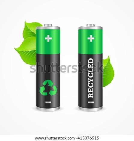 Recycled Battery Eco Concept. Renewable Energy. illustration - stock photo
