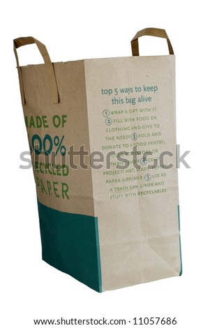 recycled brown paper bag with suggestions for re-using same - stock photo