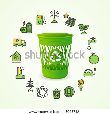 Recycled Concept with Green Trash. illustration