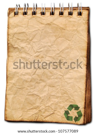 Recycled logo on old paper background - stock photo