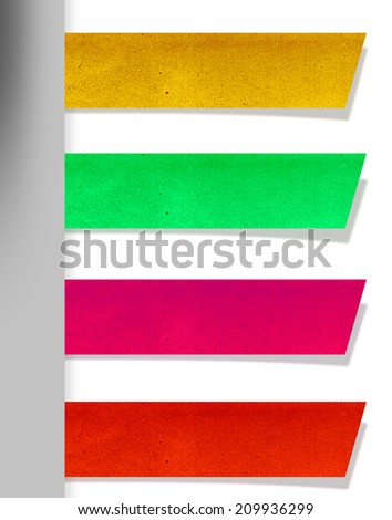 recycled old paper stick text box. label. - stock photo