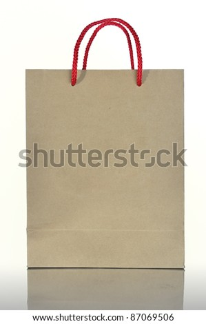 Recycled paper bag isolated on white background - stock photo