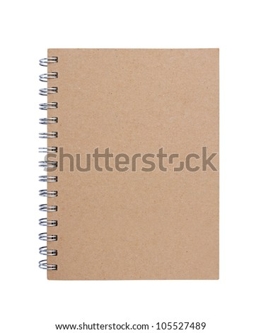 Recycled paper blank notebook front cover on white background. - stock photo
