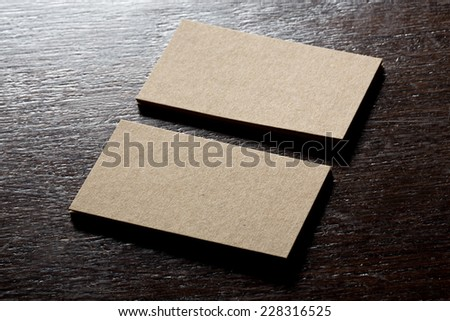 recycled paper business cards mock up - stock photo