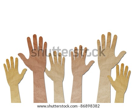 recycled paper craft ,Human Hands raised up on white background - stock photo
