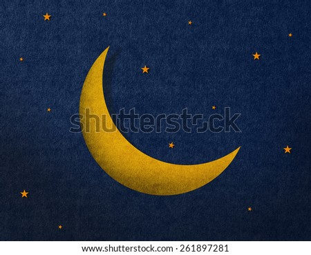 Recycled paper craft on background, the moon ,Yellow - stock photo