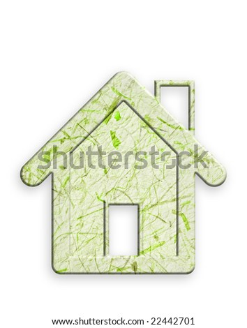 Recycled paper house, white background, clipping path.