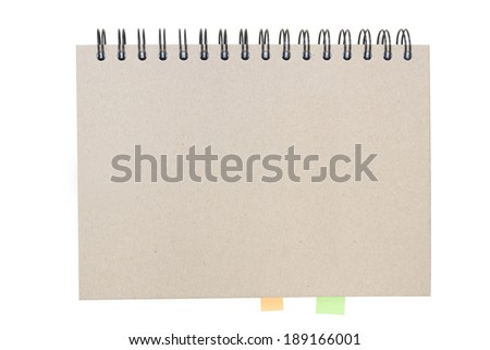 Recycled paper notebook front cover, note it