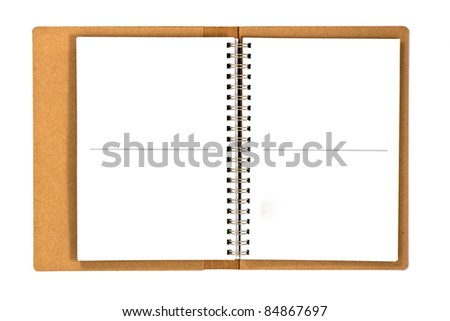 recycled paper notebook opened - stock photo