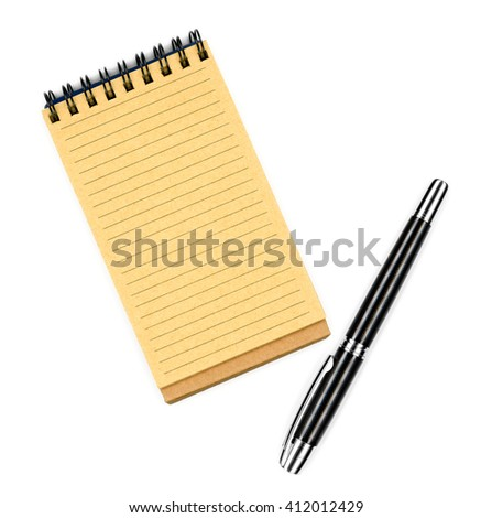 Recycled paper notebook, opened on a blank sheet and black ink pen for your note, isolated on white background - stock photo