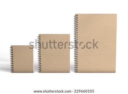 Recycled paper notebooks isolated on white