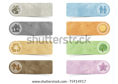 recycled paper stick on white background Data source: NASA - stock photo