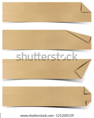 recycled paper tag craft stick on white background - stock photo