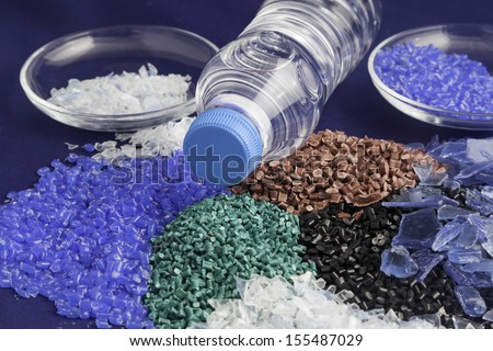 Recycled plastic polymers - stock photo