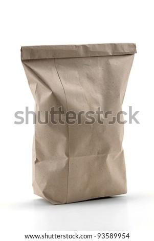 Recycled shopping bag isolated on white background. - stock photo