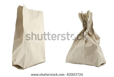 Recycled shopping paper bags isolated on white background
