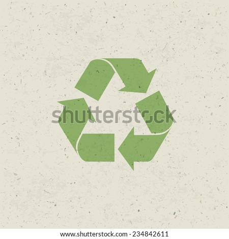 Recycled symbol on paper texture. Raster version - stock photo