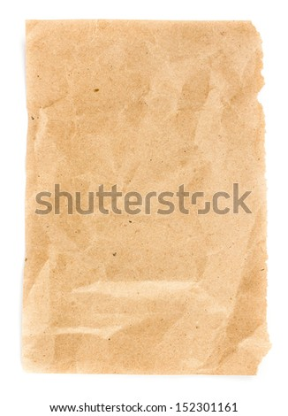 Recycled yellow paper  sheet texture or background with Torn edge.  Old craft paper texture. - stock photo