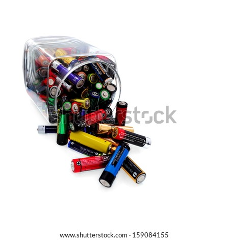 Recycling and renewable energy sources, aa different batteries background  - stock photo
