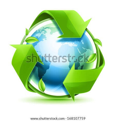 Recycling arrows with leafage and blue earth - stock photo
