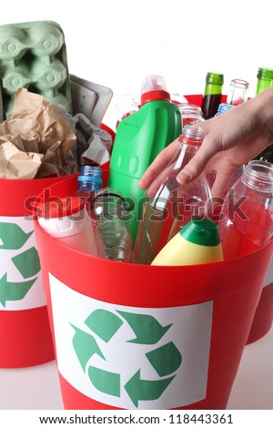 Recycling baskets- plastic, glass and paper segregation, isolated - stock photo