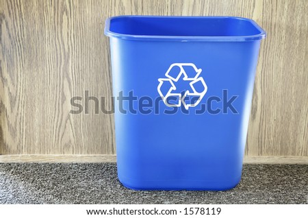 Recycling bin in office - stock photo