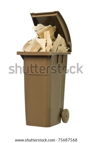 Recycling bin with cardboard paper isolated on white background