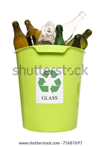 Recycling bin with glass isolated on white background - stock photo