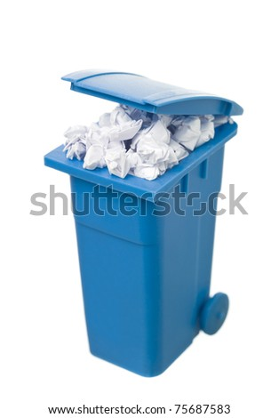 Recycling bin with paper isolated on white background
