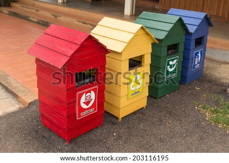 Recycling bins for arranged on public trash - stock photo