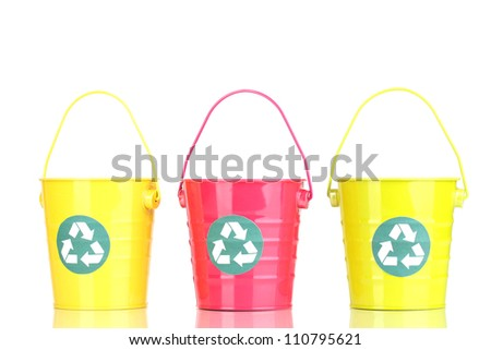 Recycling bins isolated on white - stock photo