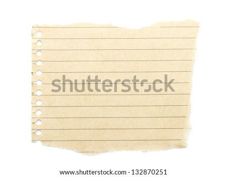 recycling brown lined paper scrap isolated on white