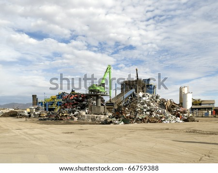 Recycling cars and scrap metal - stock photo