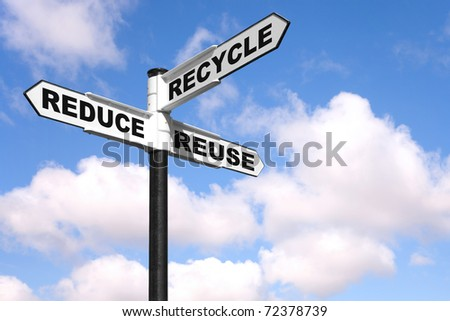 Recycling concept image of a signpost against a sky background with the 3 Rs on the directional arrows, Reduce, recycle, reuse. - stock photo