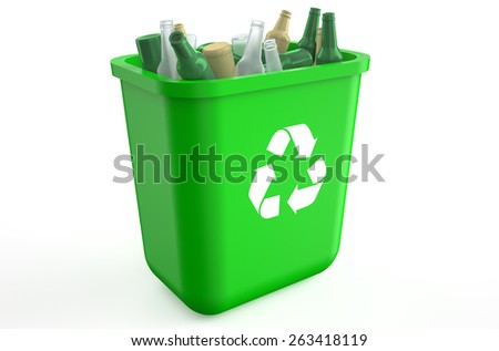 recycling container with glass bottles isolated on  white background  - stock photo