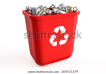 recycling container with metallic cans isolated on  white background  - stock photo