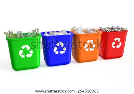 recycling containers with  trash isolated on  white background  - stock photo
