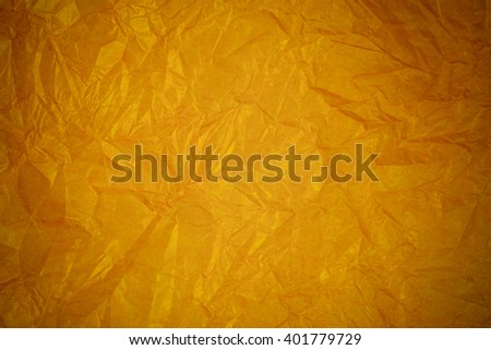 Recycling Crumpled gold paper background.