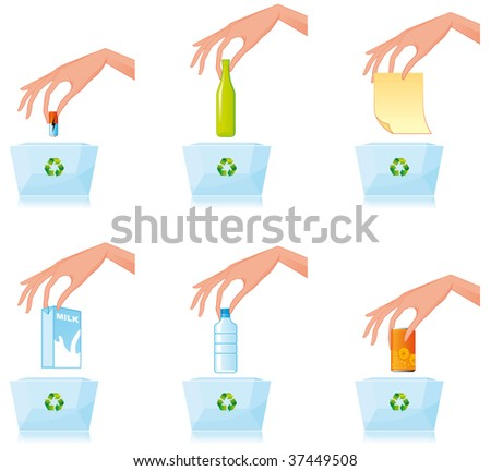 Recycling different materials - stock photo