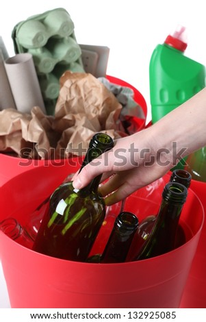 Recycling: glass, plastic and paper garbage, isolated background - stock photo