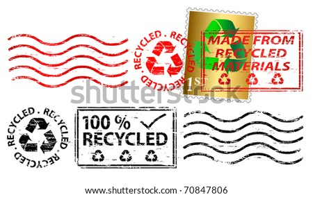 Recycling letter franking mark and stamp - stock photo