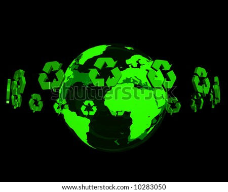 Recycling logo turning around a reflective earth - stock photo
