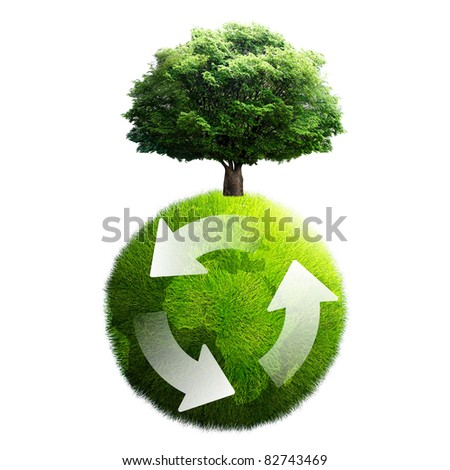 recycling of planet tree - stock photo